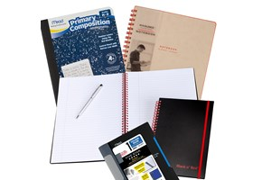 Collection of school and business notebooks, composition books and journals.