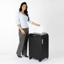 Woman about to use GBC Jam Free Shredder, LM12-30